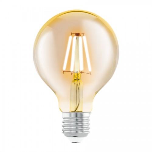 Bec LED decorativ 4W G80 E27, lumina alb cald, Eglo 11556
