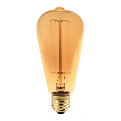 Bec decorativ tubular Edison ST64 E27 60W, lumina alb cald, 19AK Total Green